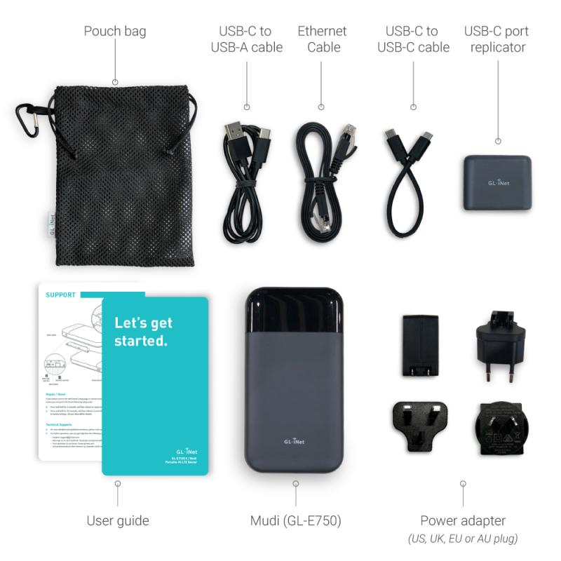 GL.iNet GL-E750(Mudi) 4G LTE VPN 旅行路由器7000mAh