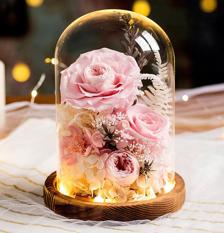 玻璃罩永生玫瑰花