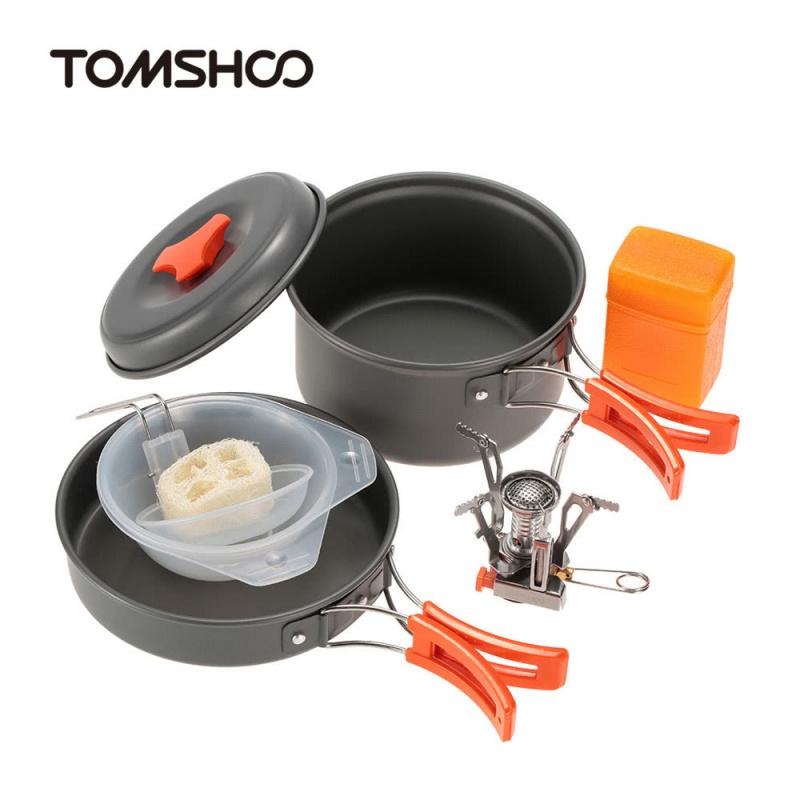 TOMSHOO 戶外露營迷你壓電點火爐烹飪炊具套裝