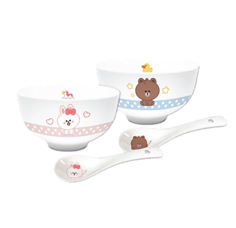 "Pixar / line Friends 2P 4.5"" 陶瓷碗+2P匙禮盒套裝"
