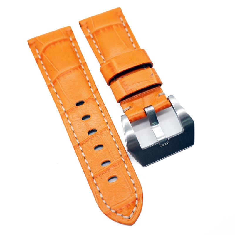 22mm Panerai Style 橙色鱷魚皮紋牛皮錶帶 (女裝短帶)