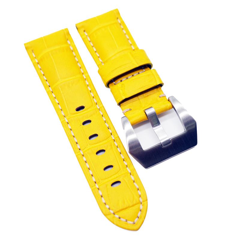 22mm Panerai Style 黃色鱷魚皮紋牛皮錶帶 (女裝短帶)