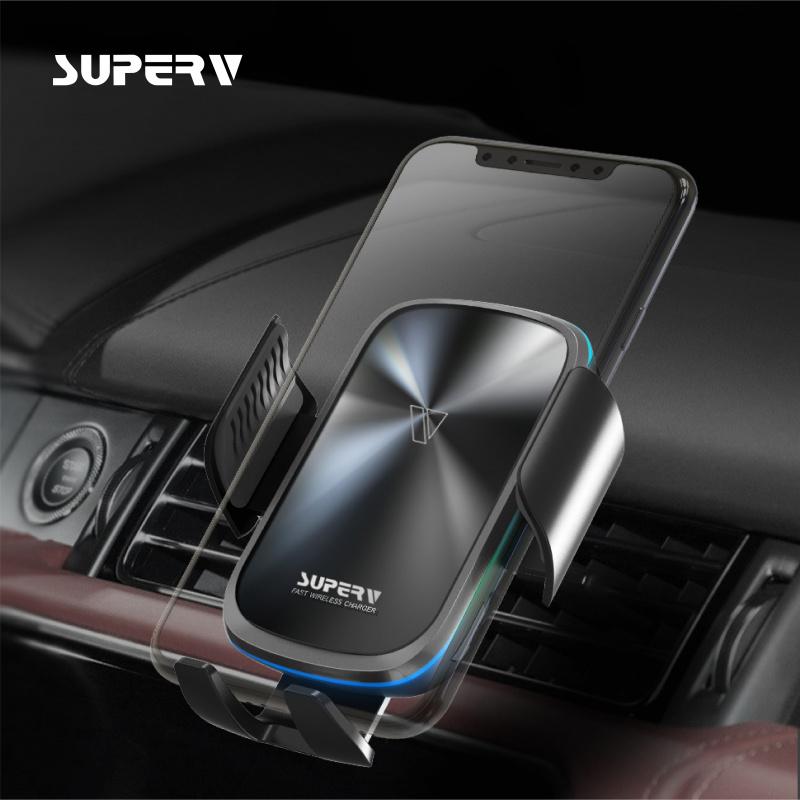 SuperV G91 自動感應開合 無線快充車載充電器+支架組