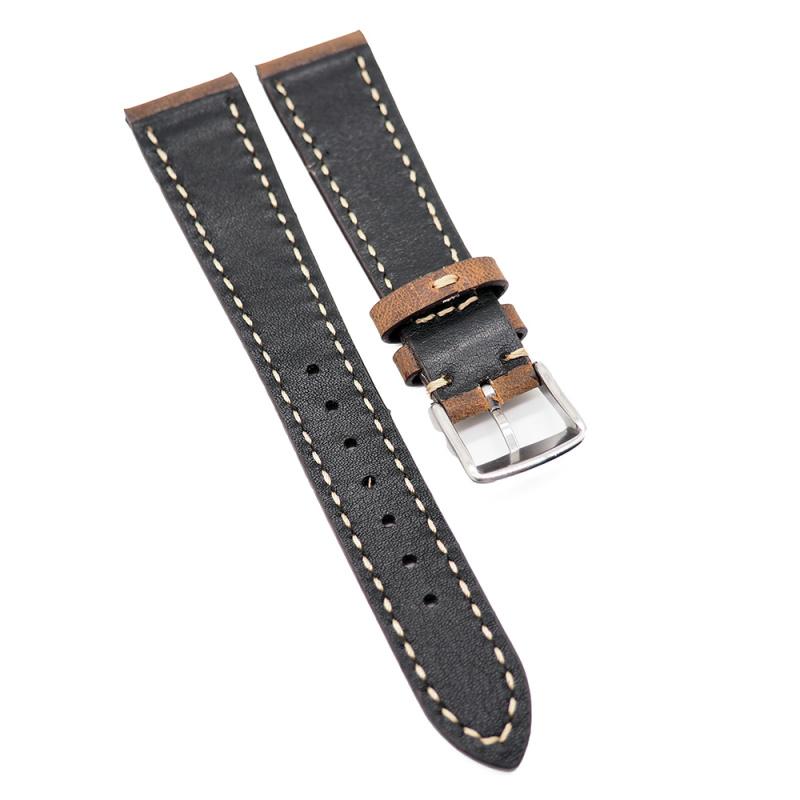 20mm 手工拉線燃橙色高級意大利牛皮錶帶