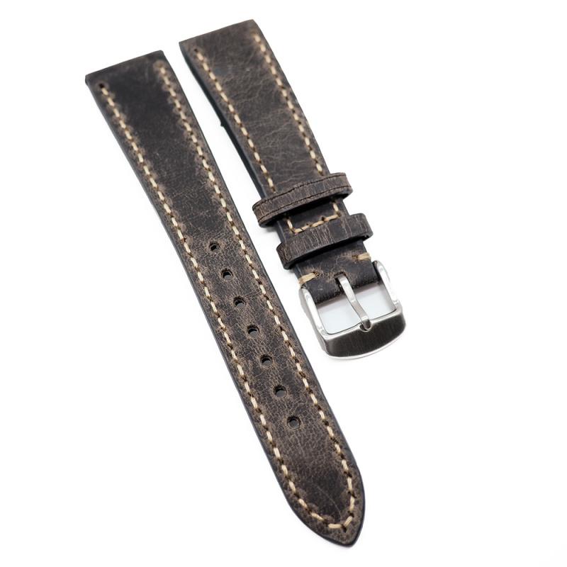 20mm 手工拉線鐵灰色高級意大利牛皮錶帶