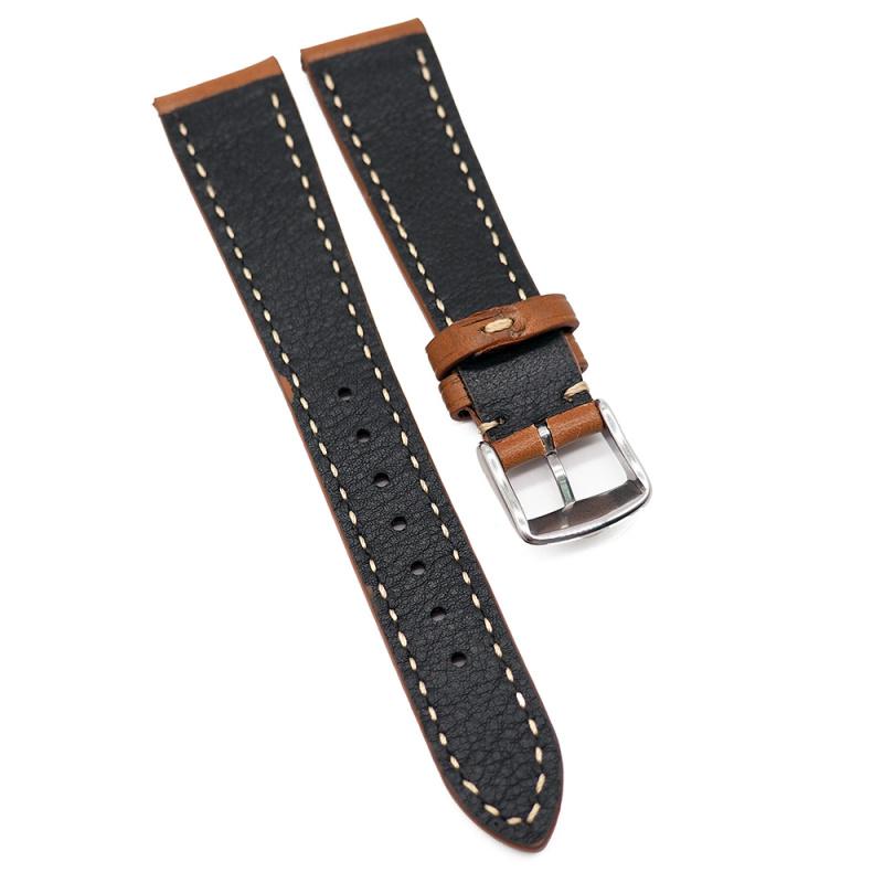 20mm 手工拉線啡色高級意大利牛皮錶帶