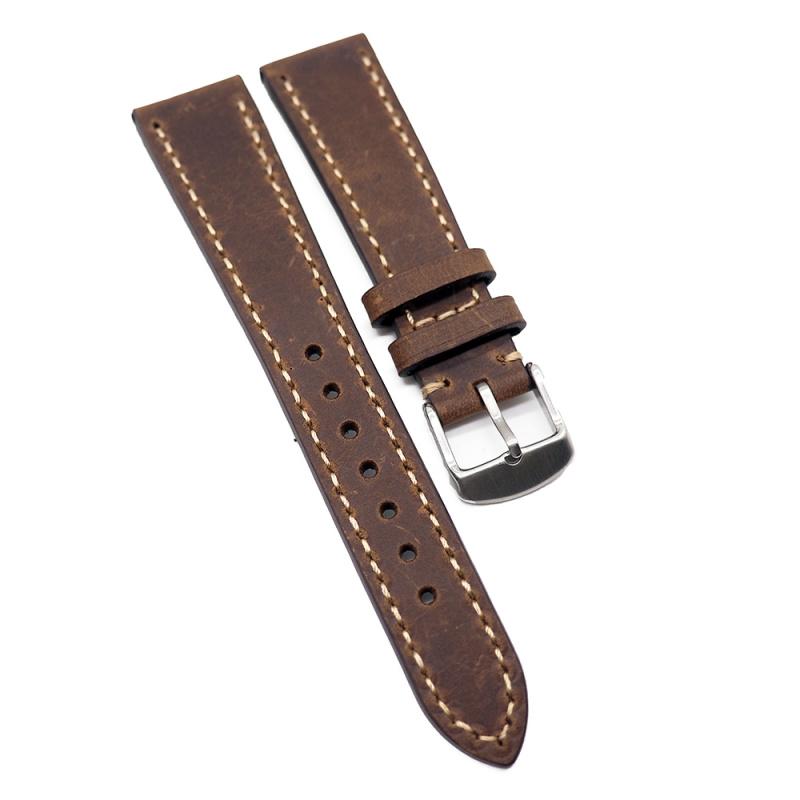 20mm 手工拉線核桃啡色高級意大利牛皮錶帶
