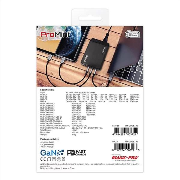 ProMini Gs130 GaN氮化鎵 3 PD + QC3.0 130W* GaN桌面式快速充電器