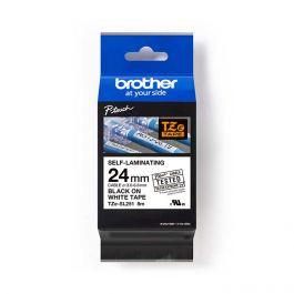 Brother TZeSL251 覆貼型過膠保護層電線標籤帶 (Self-Laminating Tape) 白底黑字 (24mm) (22-18-6251)