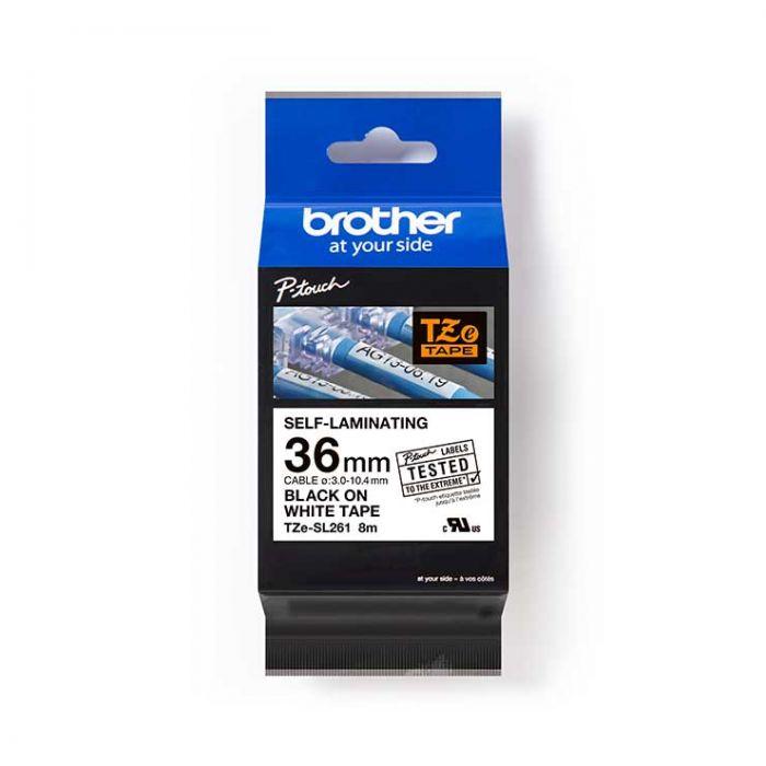 Brother TZeSL261 覆貼型過膠保護層電線標籤帶 (Self-Laminating Tape) 白底黑字 (36mm) (22-18-6261)