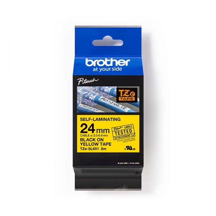 Brother TZeSL651 覆貼型過膠保護層電線標籤帶 (Self-Laminating Tape) 黃底黑字 (24mm) (22-18-6651)