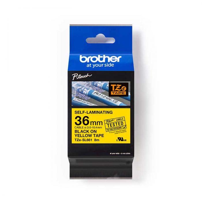 Brother TZeSL661 覆貼型過膠保護層電線標籤帶 (Self-Laminating Tape) 黃底黑字 (36mm) (22-18-6661)