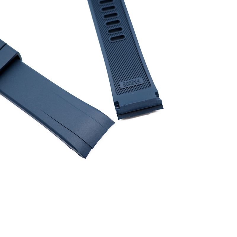 22mm 海藍色彎頭橡膠錶帶 合適 Seiko Turtle Prospex Automatic Dive Watch