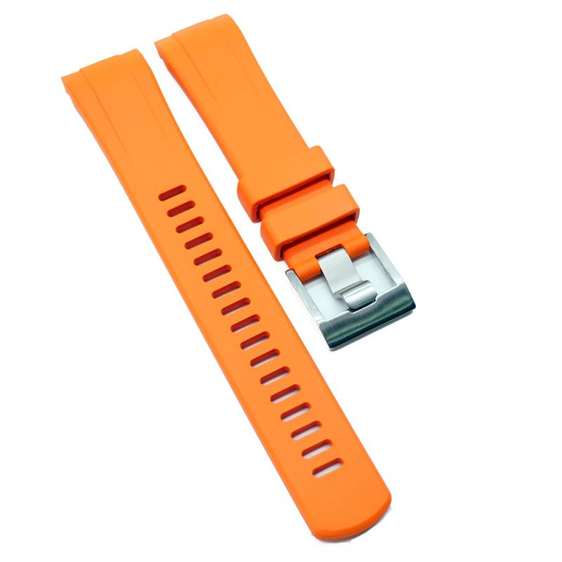 22mm 橙色彎頭橡膠錶帶 合適 Seiko Turtle Prospex Automatic Dive Watch