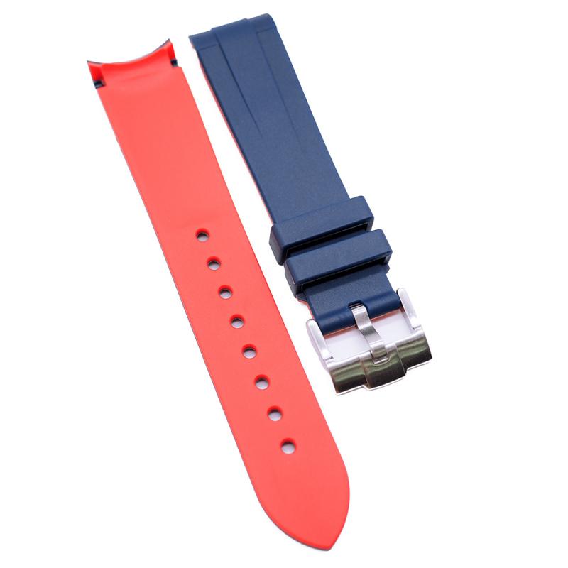 20mm, 22mm 藍紅雙色彎頭膠錶帶 合適 Rolex