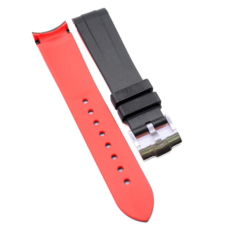 20mm, 22mm 黑紅雙色彎頭膠錶帶 合適 Rolex