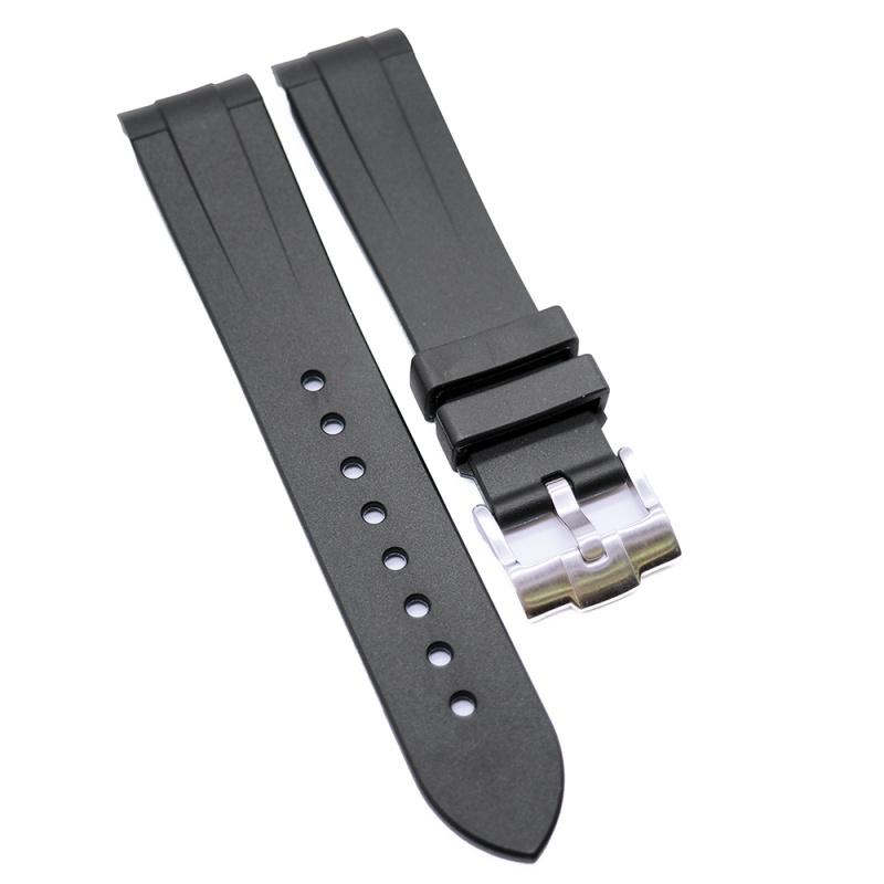 20mm, 22mm 黑藍雙色彎頭膠錶帶 合適 Rolex