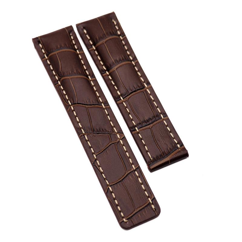 22mm Breitling 棕色鱷魚壓紋牛皮代用錶帶