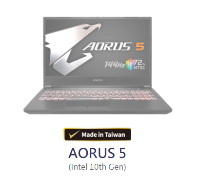 AORUS 5 (Intel 10th Gen) i5 10200H+RTX2060 FB