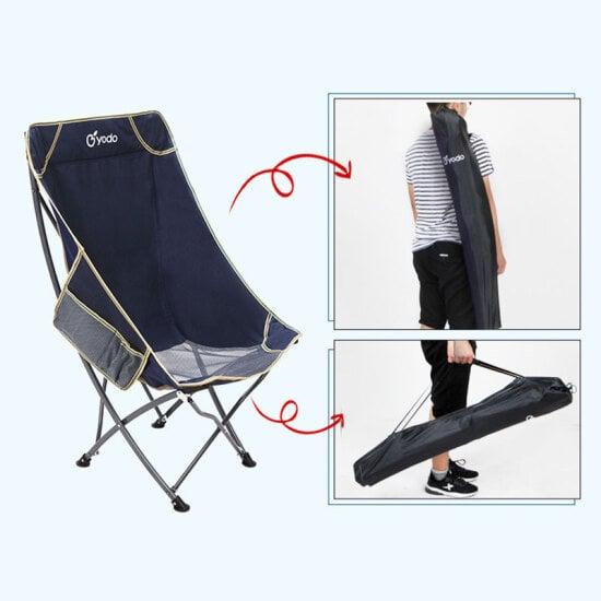 摺合椅輕攜露營野餐燒烤釣魚椅負重100公斤–海軍藍色 大碼