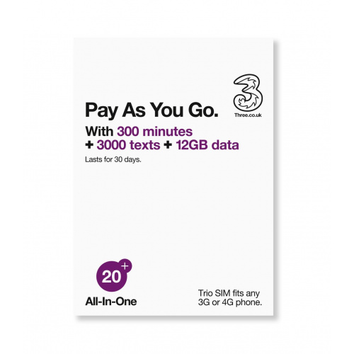 (無須登記,即可使用)THREE - 3UK預付4G/3G 30日 12GB 60多個地方國際數據及通話sim卡 3in1 sim card