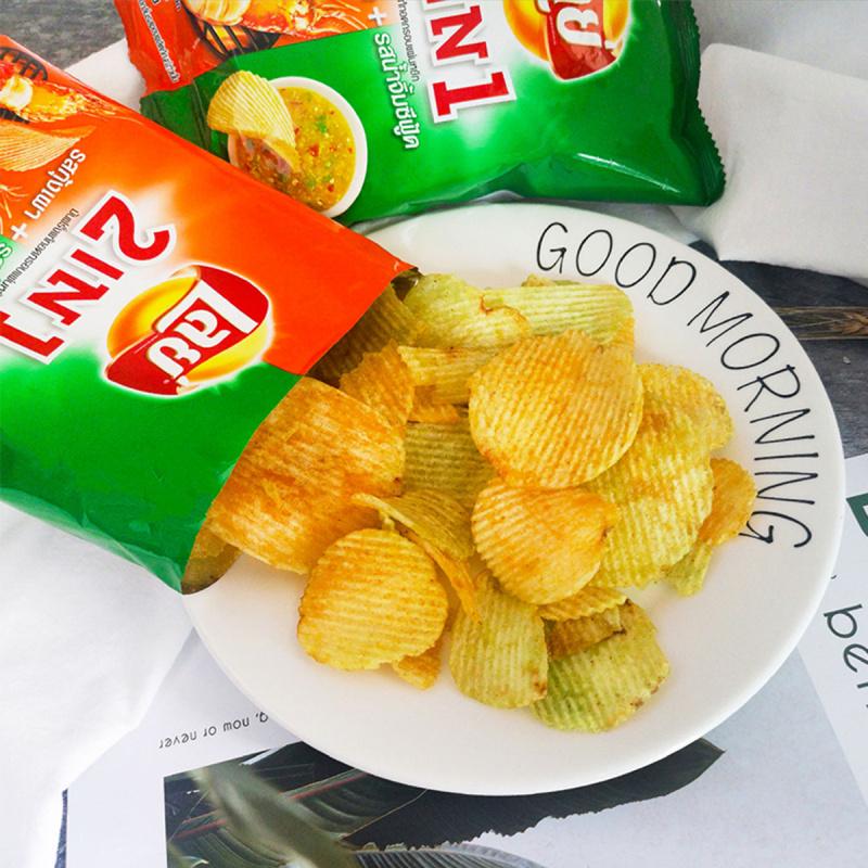 泰國版 樂事Lays 2合1烤蝦海鮮醬味 波浪薯片 48g (3件裝)【市集世界 – 泰國市集】