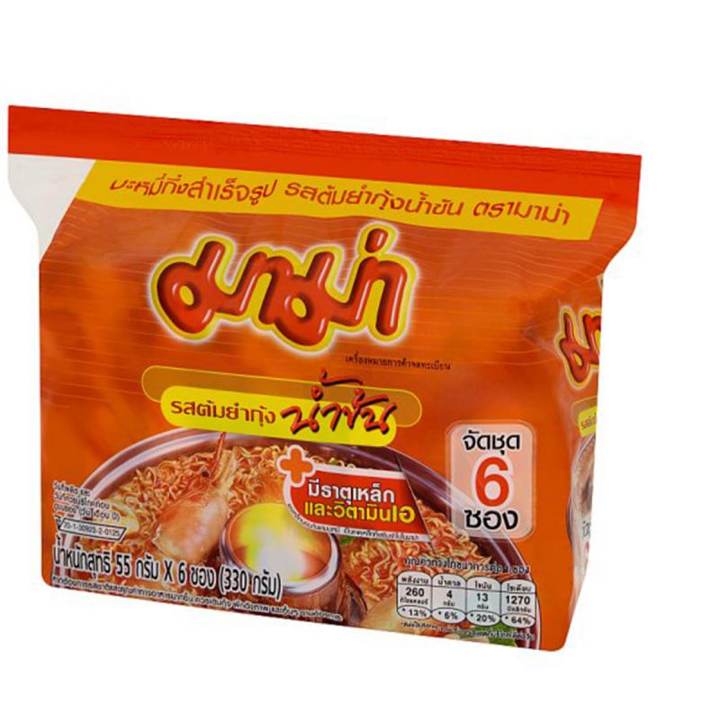 泰國 媽媽牌 即食麵 泰式冬蔭功蝦味濃湯味 55g (6件裝)【市集世界 - 泰國市集】