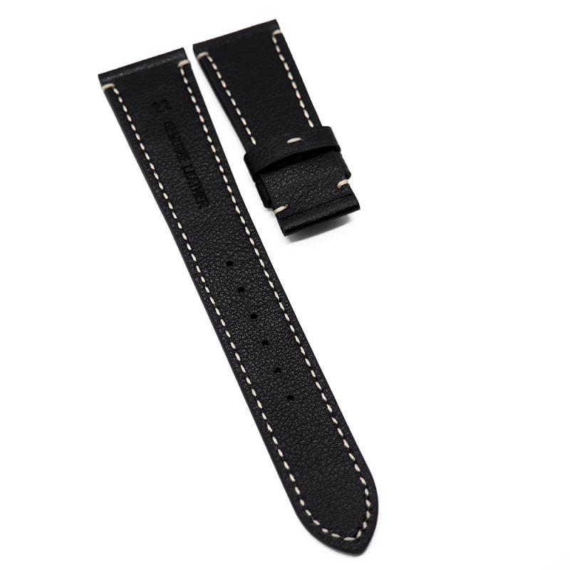 22mm Tudor 黑色荔枝紋牛皮代用錶帶