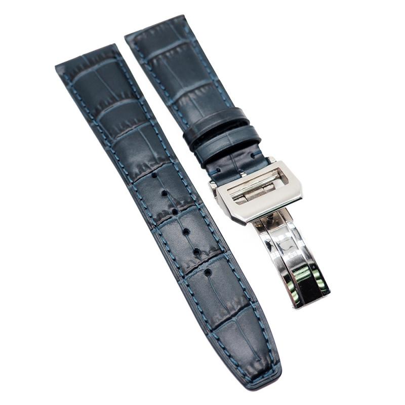 22mm 深藍色 IWC 鱷魚紋牛皮代用錶帶 合適 Portugieser