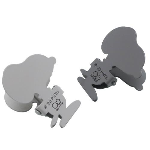 日本進口 -[夾子]史努比 SNOOPY 模切鋼製夾子2件套 灰色