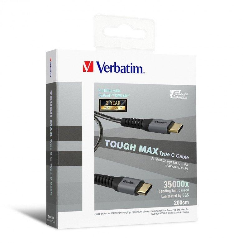 Verbatim - Tough Max Type C to Type C 充電傳輸線 200cm 灰色 66066