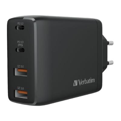 Verbatim 4 Port 100W GAN USB 充電器 黑色 66545