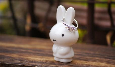 日本製 – Miffy 白色陶瓷娃娃 - 戒指收納架