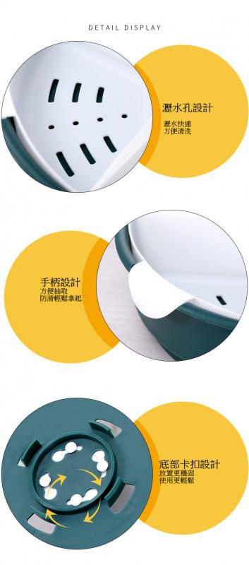 三層家用旋轉火鍋食材盤[暗綠色]