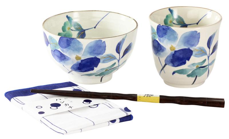 """日本 Ceramic-ai """"和藍"""" 花蒼 飯碗湯呑 花水木套裝"""