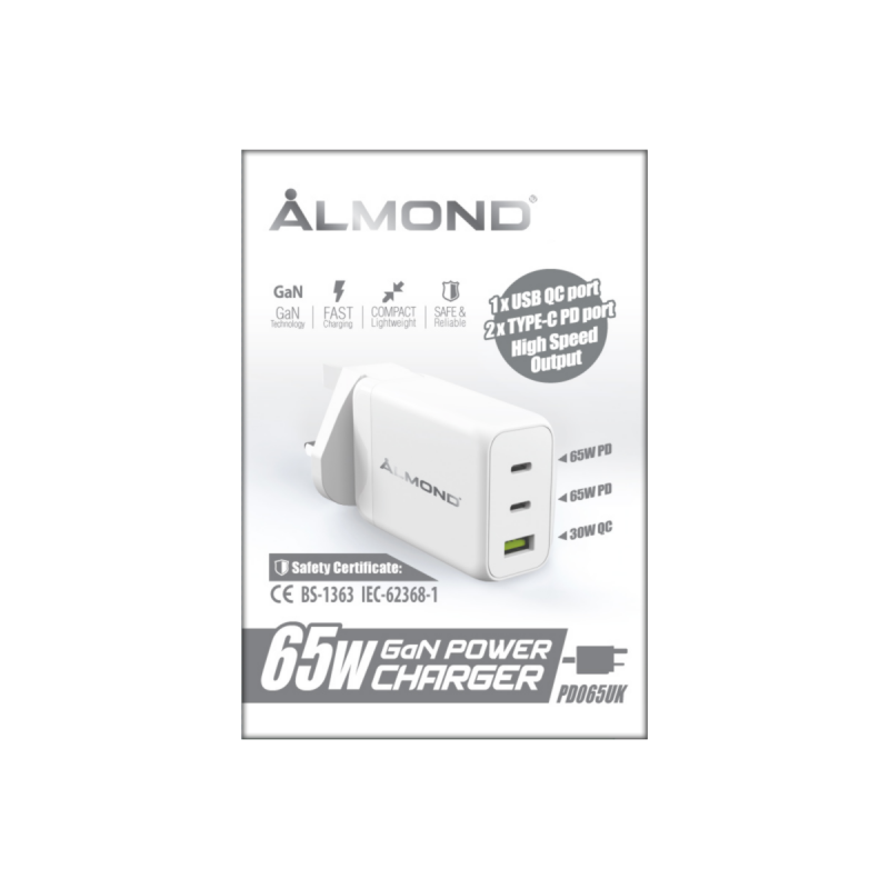 【送3A快充線Type C 一條】ALMOND PD065UK 65W快速充電器(QC&PD)