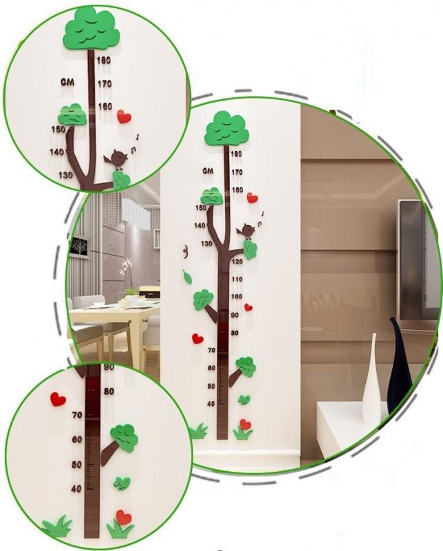 3d立體樹 水晶塑膠度高牆貼 量身高 度高尺