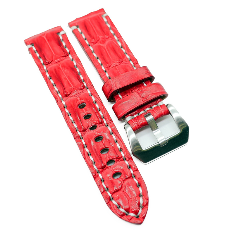 24mm 紅色鱷魚背骨鱷魚皮錶帶