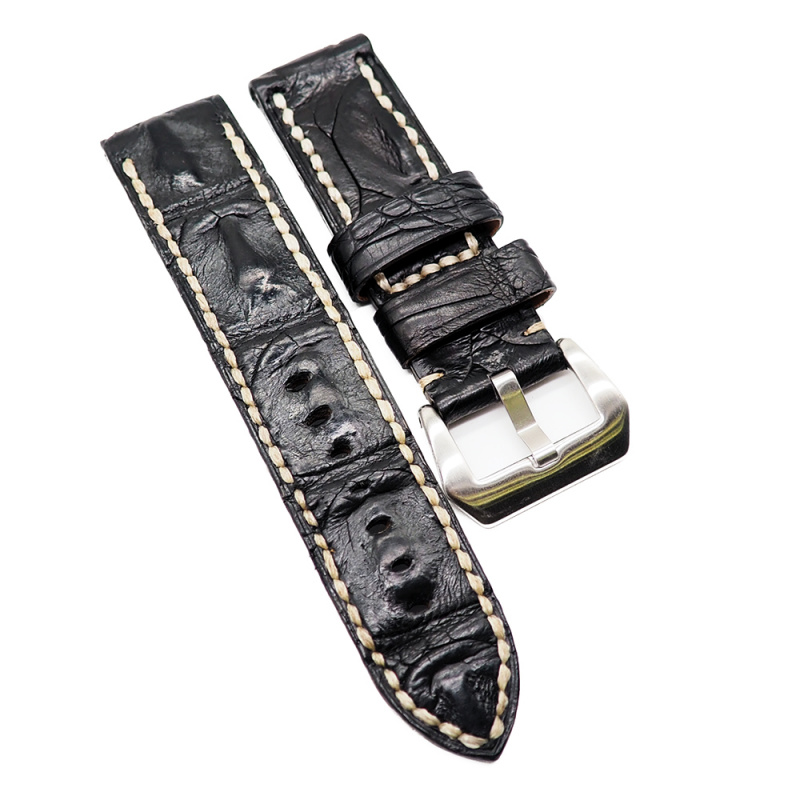 24mm 黑色鱷魚背骨鱷魚皮錶帶, 人手拉線
