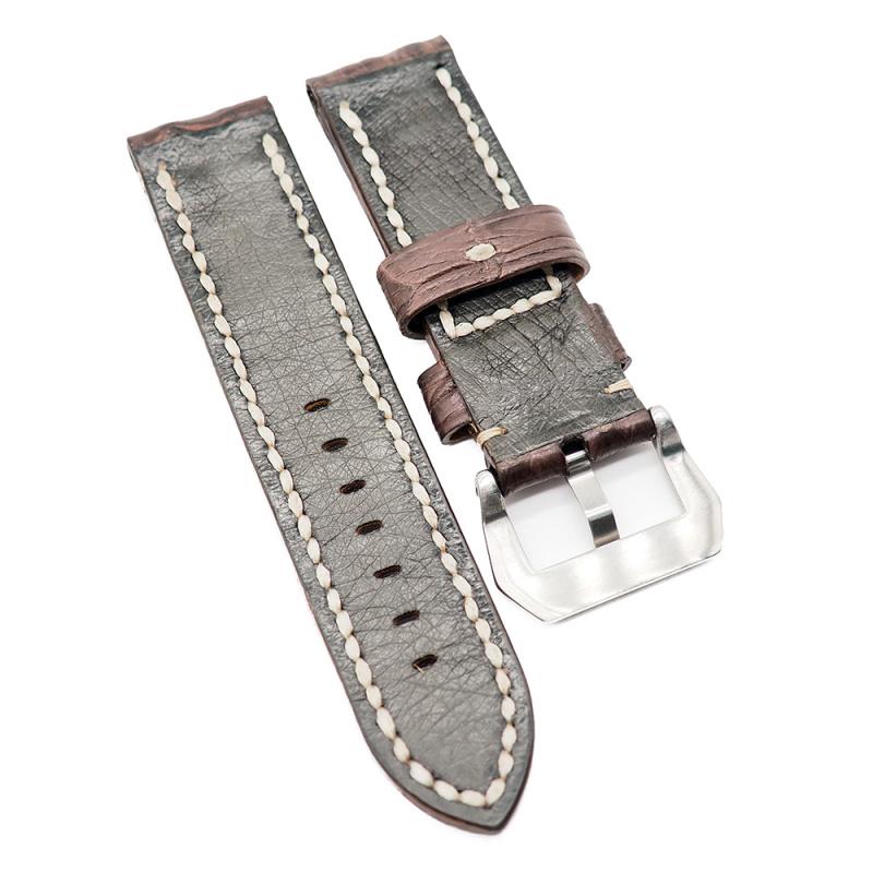 24mm 啡色鱷魚背骨鱷魚皮錶帶, 人手拉線