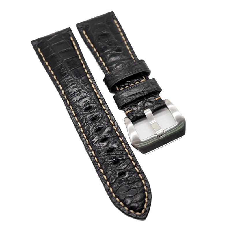 26mm Panerai 黑色鱷魚皮代用錶帶