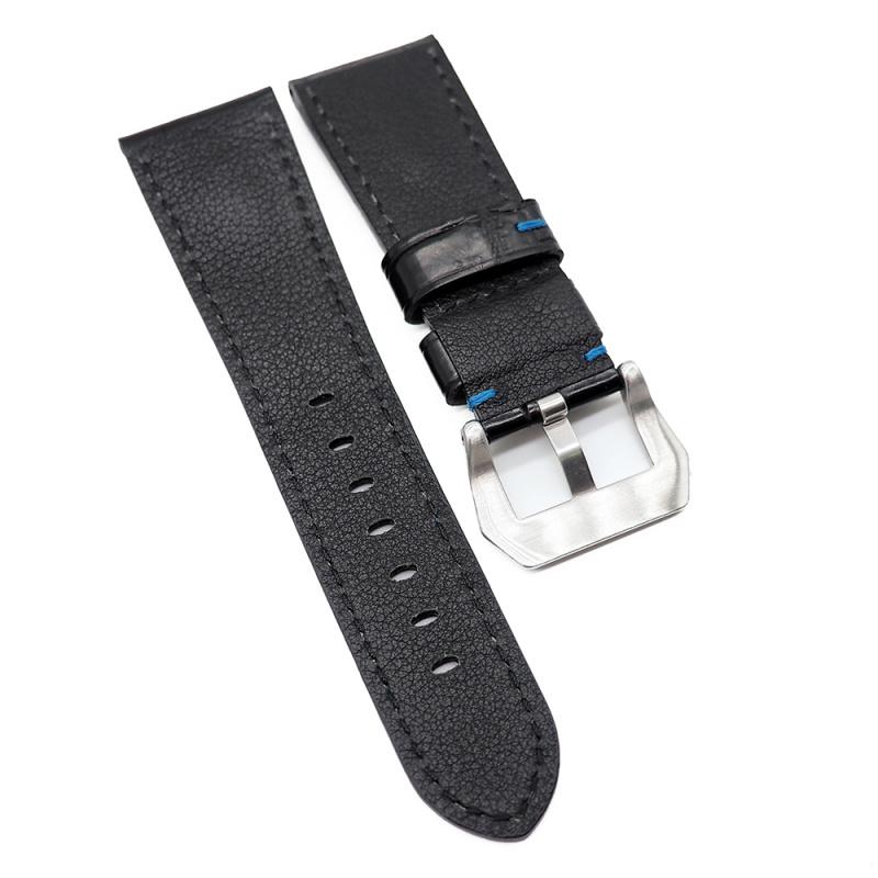 26mm Panerai 黑色鱷魚背骨代用錶帶, 藍色車線