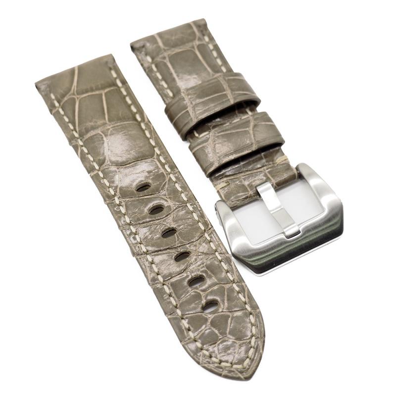 24mm Panerai 光面奶灰色鱷魚皮代用錶帶 (女裝短帶)