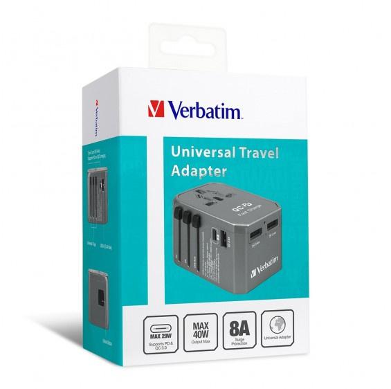 Verbatim 4 Ports QC/PD旅行充電器40W [2色]