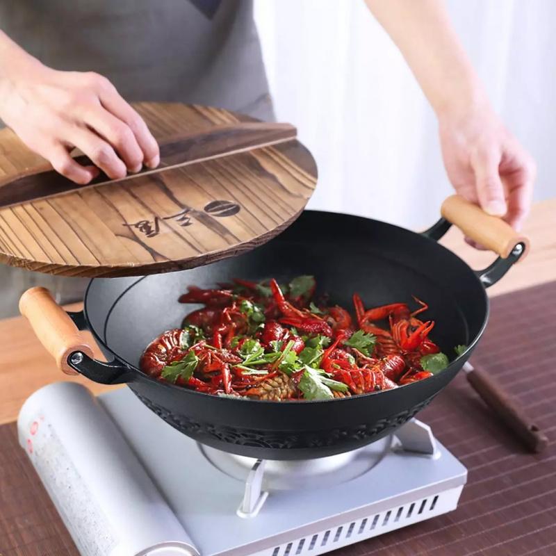 小米有品 SANXIA 鑄鐵雙耳木柄炒鍋 34cm 2-5天發出
