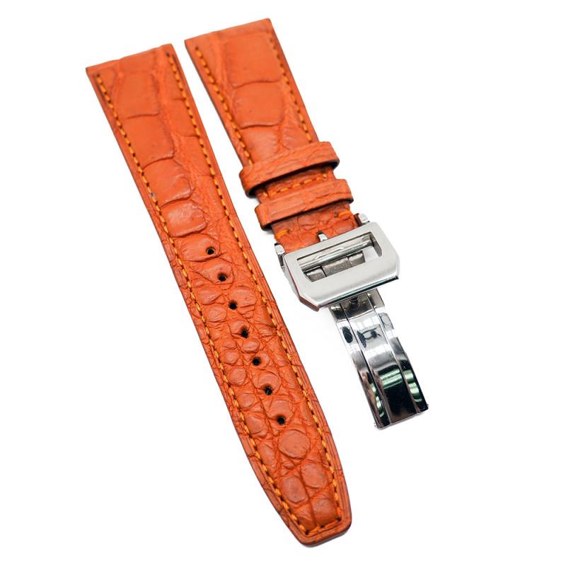 22mm 淡橙色 IWC 鱷魚皮代用錶帶