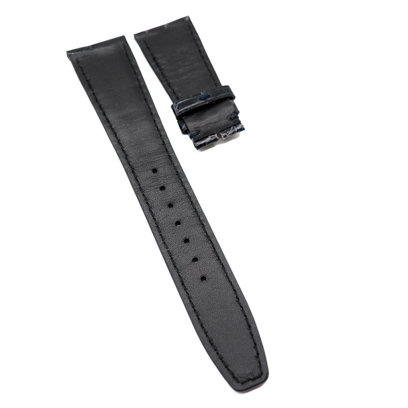22mm 光面藍黑色 IWC 鱷魚皮代用錶帶