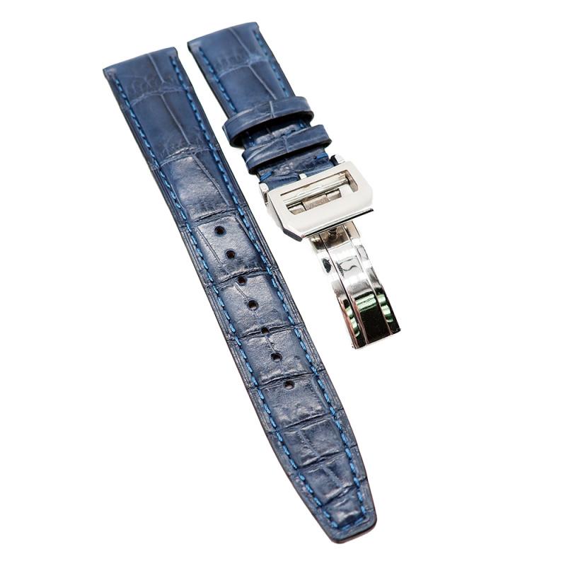 20mm 深藍色 IWC 鱷魚皮代用錶帶