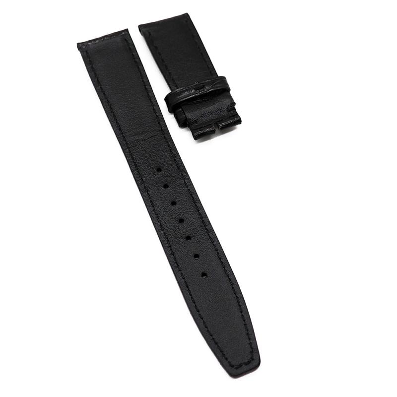 20mm 光面黑色 IWC 鱷魚皮代用錶帶