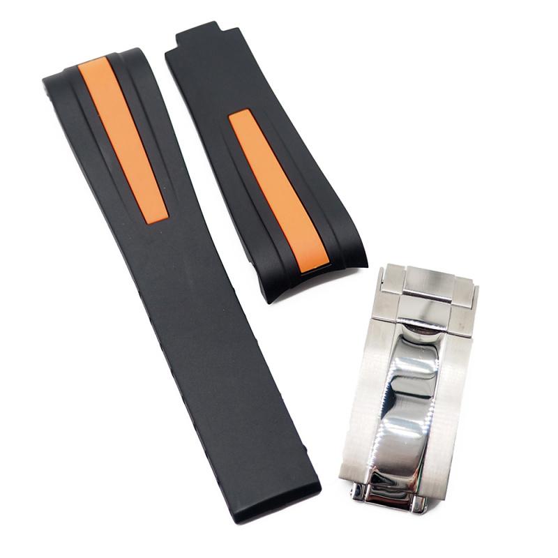 20mm, 22mm Rolex 黑色 / 粗橙線 Curved Ends 代用膠帶